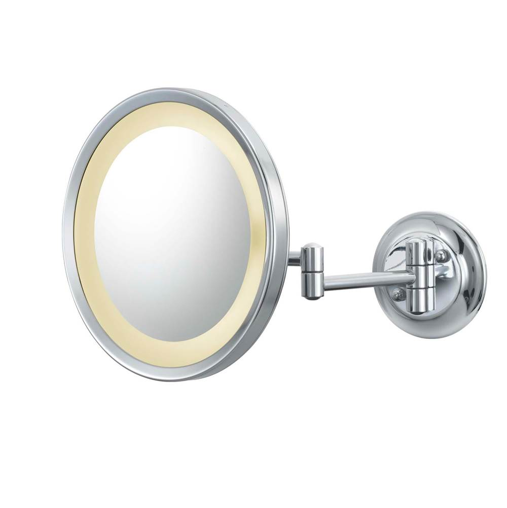 Aptations Round Magnified Mirror With Switchable Light Color in Matte Black