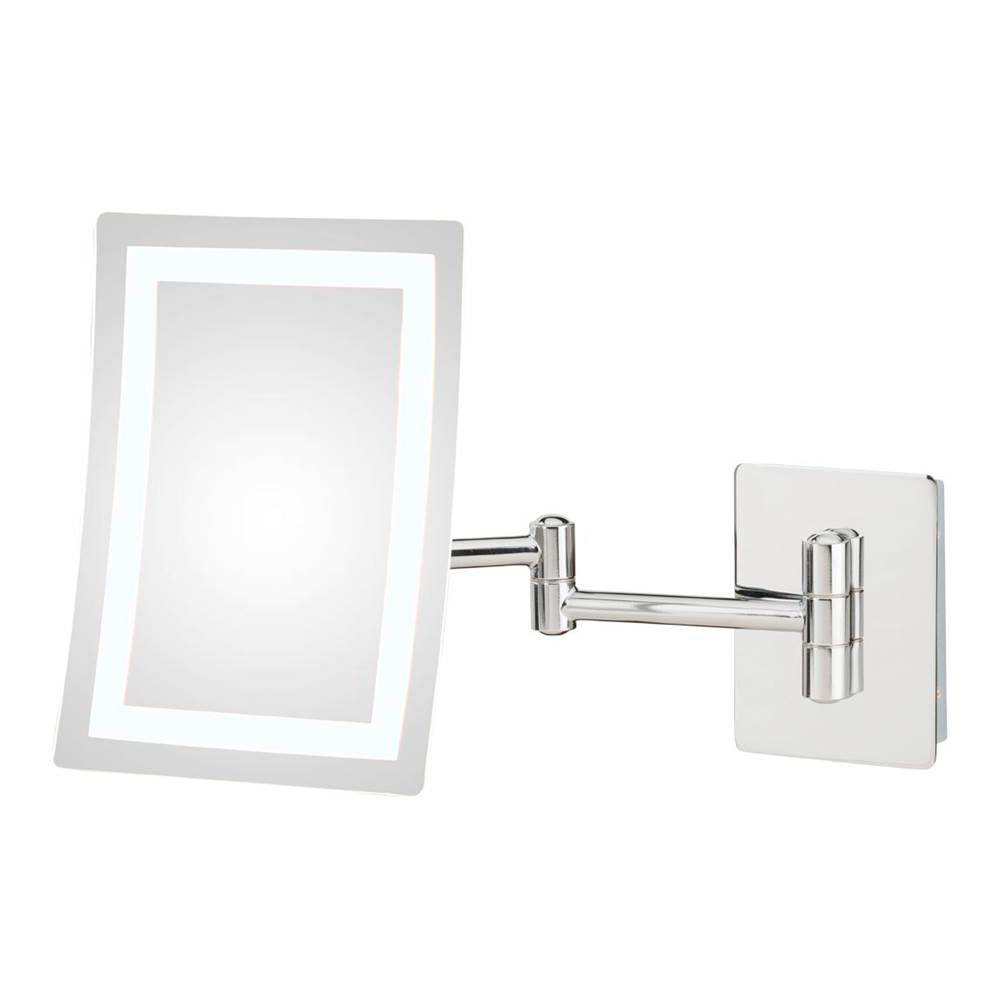 Aptations Contemporary Rectangular Led Lighted Magnifying Makeup Mirror With Switchable Light Color in Chrome