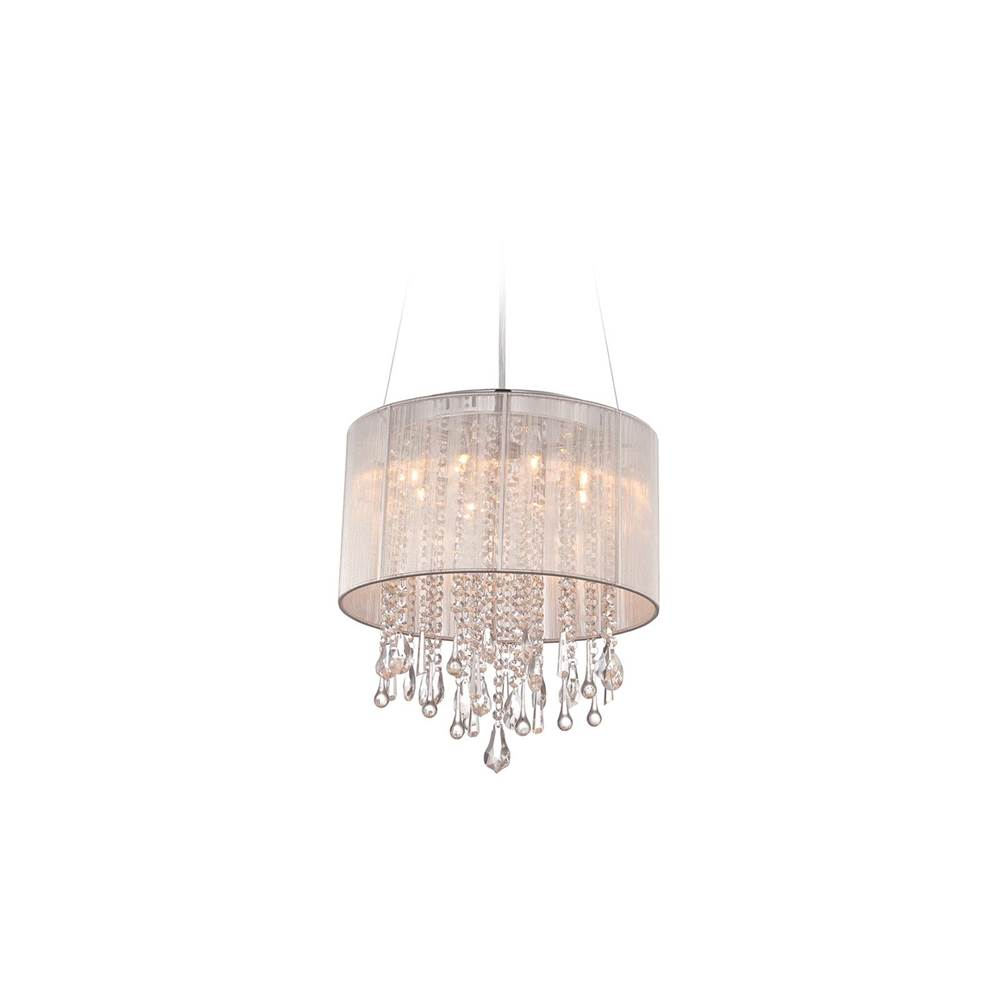 Avenue Lighting Beverly Dr. Collection Round Silver Silk String Shade And Crystal Dual Mount