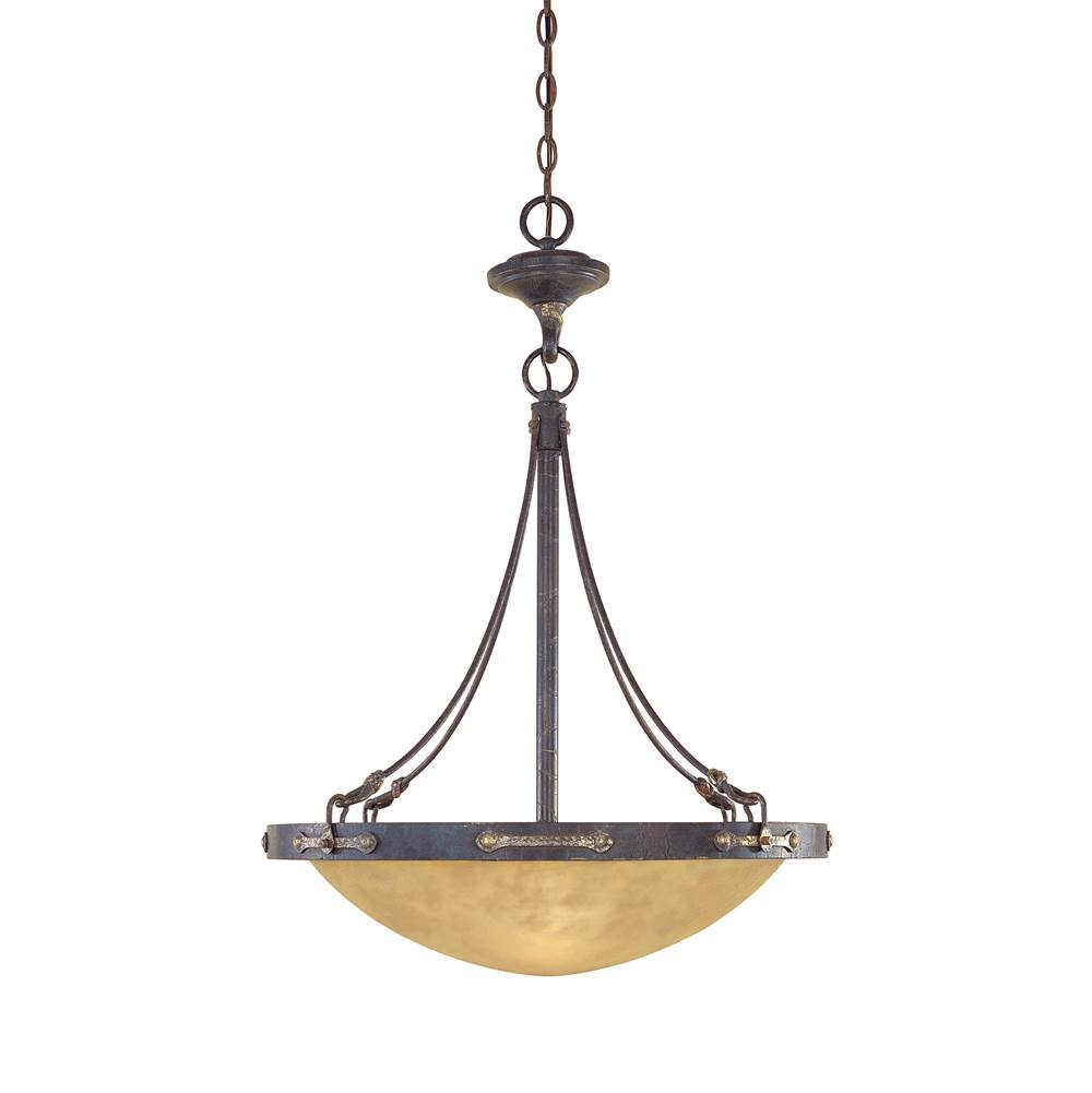 Designers Fountain Austin Collection - 3 Light - Inverted Pendant - 21.25''W - 30.50''H - Weathered Saddle Finish