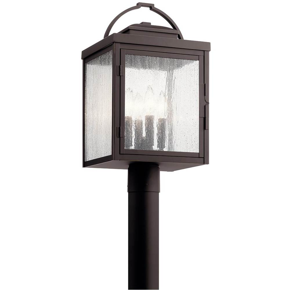 Kichler Lighting Carlson 19.5'' 4 Light Post Light with Clear Seeded Glass in Rubbed Bronze
